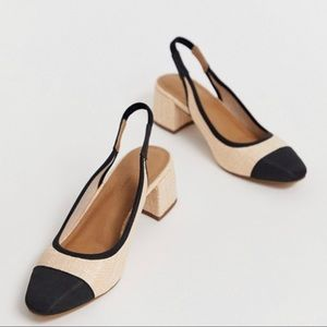 ASOS slingback straw shoes